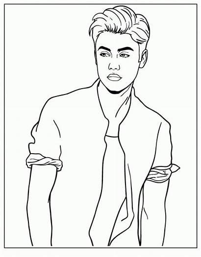 Bieber Justin Coloring Selena Gomez Drawing Printable
