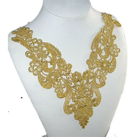 Gold Applique by Venise Lace Yoke Applique Metallic Gold Large 10 Quot X 10