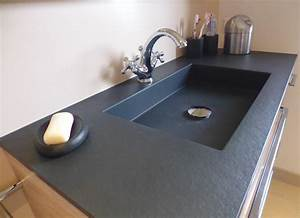 Plan De Travail En Résine : meuble avec plan toilette r sine ardoise atlantic bain ~ Dailycaller-alerts.com Idées de Décoration