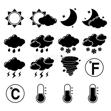 Weather icons set stock vector. Illustration of clouds ...