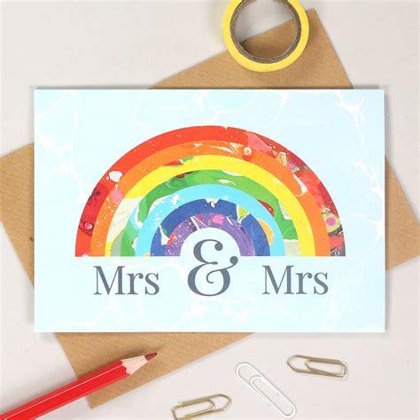 Mrs And Mrs Rainbow Wedding Card By Bombus