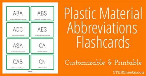 plastic material abbreviations flashcards stem sheets
