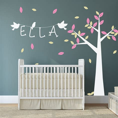 sticker chambre bébé nursery tree with name and birds wall stickers by wallboss