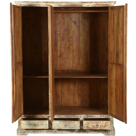 Wardrobe Armoire by Woodsburgh White Washed Reclaimed Wood Large Wardrobe Armoire