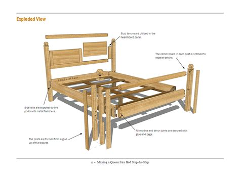 build plans  building  queen size bed frame diy