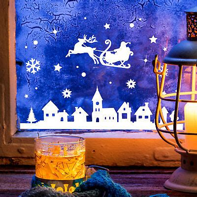 Fensterdeko Weihnachten Rentier by Fensterbild Weihnachtsmann Rentier Weihnachten Fensterdeko