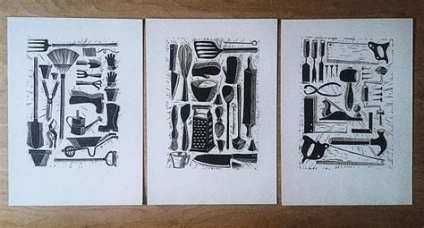 trio  hand carved linocut prints feature  sets