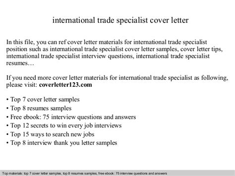 Cover Letter Sles For Trades by International Trade Specialist Cover Letter
