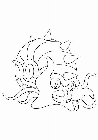 Pokemon Omastar Coloring Pages Generation Rock Type