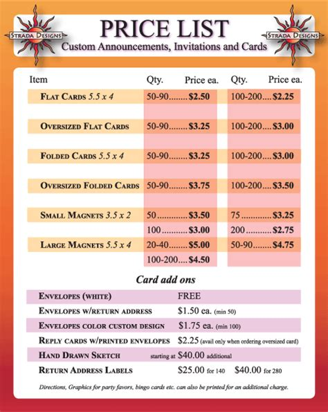 strada designs cards price list