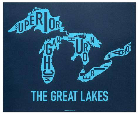 great lakes map 24 quot x 20 quot clear blue screenprint