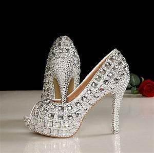 45 Inches Peep Toe Wedding Shoes Bling Peep Toe Bridal