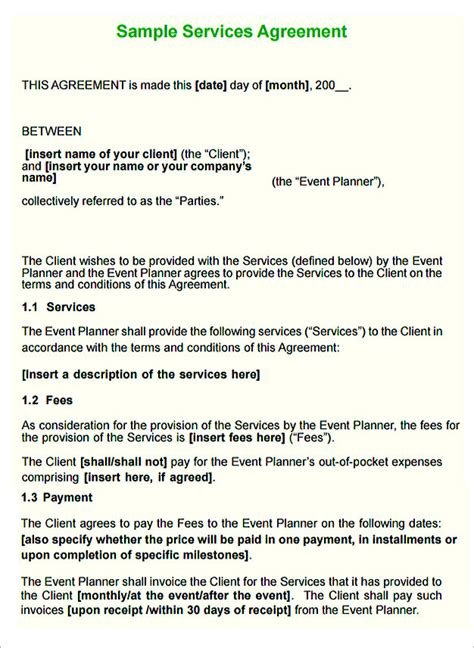 service contract template  important terms  write