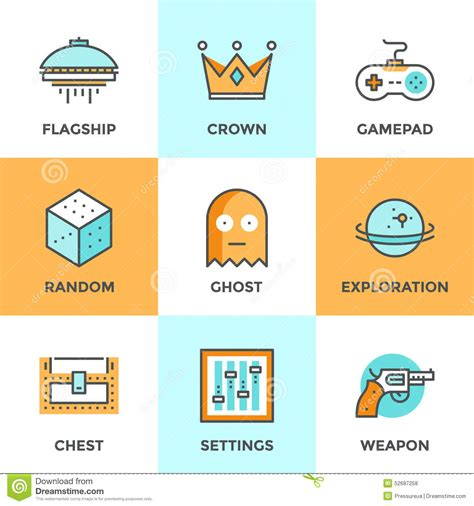 Computer Gaming Line Icons Set Stock Vector Image 52687258