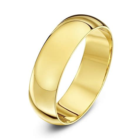 9ct yellow gold heavy d shape 6mm wedding ring