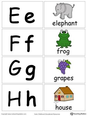 small alphabet flash cards  letters