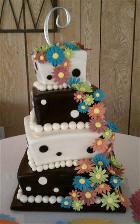 4 Tier Square White And Black Offset Wedding Cake With
