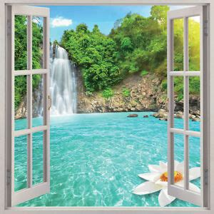 waterfall  window view removable wall art sticker vinyl