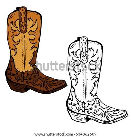 hand drawn cowboy boots illustration design stock vector