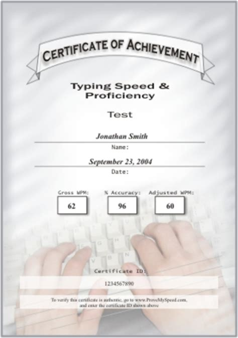 Typing Certificate Template by Typing Certificate Template Typing Test Typing Lessons