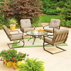 Mainstays lawson ridge 5 piece patio conversation set tan for Mainstays patio furniture