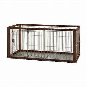 richell expandable pet crate with floor tray dark brown With adjustable dog crate