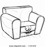 Chair Cartoon Coloring Sofa Clipart Character Couch Drawing Pages Vector Outlined Cory Thoman Clipartpanda Getdrawings Notes sketch template