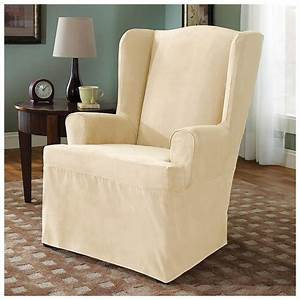 Microsuede wing chair furniture cover 228872 furniture for Microsuede chair covers
