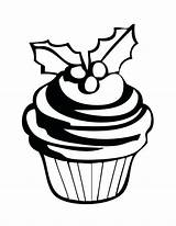 Cupcake Cupcakes Simple Coloring Pages Drawing Christmas Cake Cute Cup Getdrawings Sweet Netart sketch template