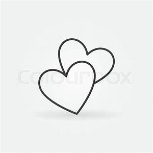Two hearts line icon - vector simple heart symbol or love ...