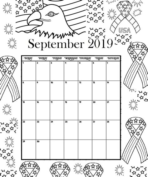 september printable coloring calendar  calendar
