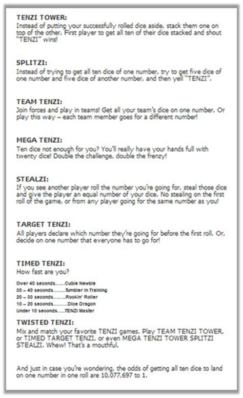tenzi  game giveaway contests dice game rules