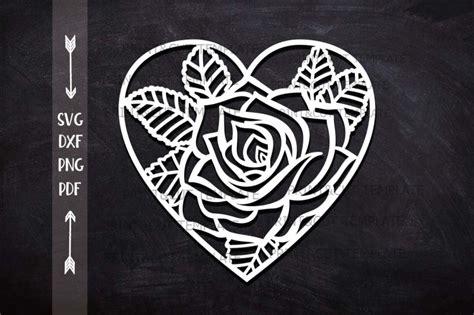 heart rose floral cutting wedding paper cut  svg laser