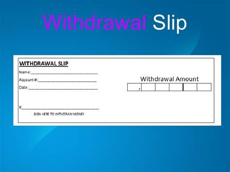 blank withdrawal slip deposit and withdrawal