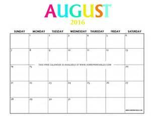 August 2016 Calendar Printable Free