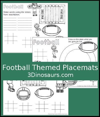 dinosaurs football themed placemat printables