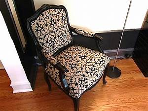 how to re cover an upholstered chair hgtv With how to cover furniture with fabric