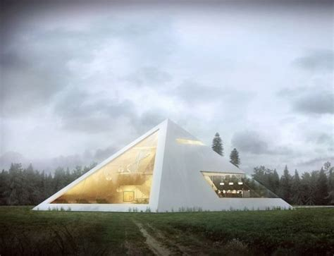 eye catching concept house shaped   pyramid