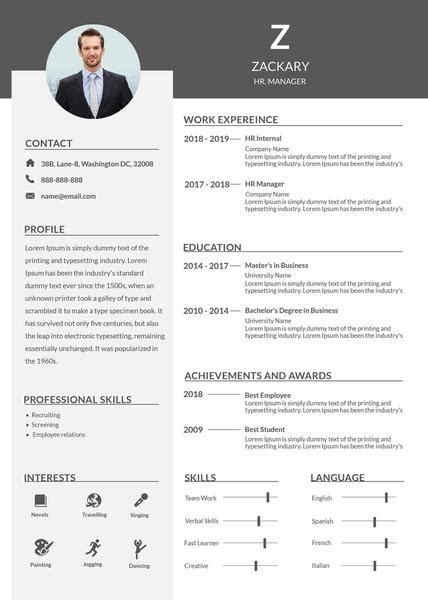 hr manager resume cv template  photoshop psd
