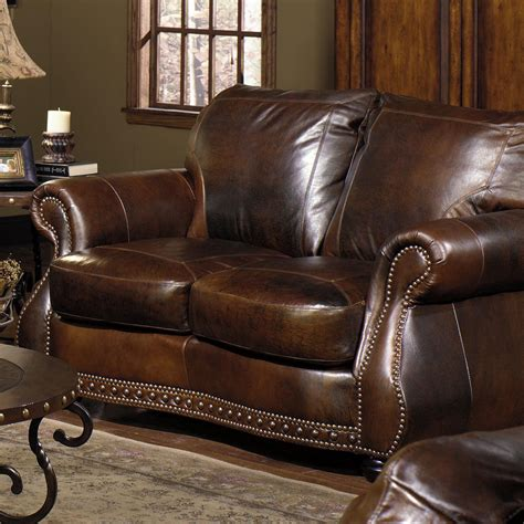 Leather Loveseat With Nailhead Trim by Loveseat W Nail Trimming By Usa Premium Leather