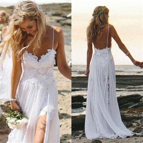 2014 sexy white ivory beach wedding dresses spaghetti