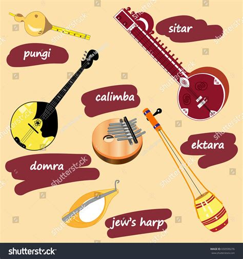 vector illustration collection ethnic musical instruments