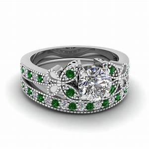 White gold round white diamond engagement wedding ring for Emerald green wedding ring