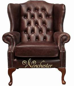 Chesterfield, Highclere, High, Back, Wing, Chair, Uk, Manufactured, Hand, Dyed, Old, English, Dark, Brown