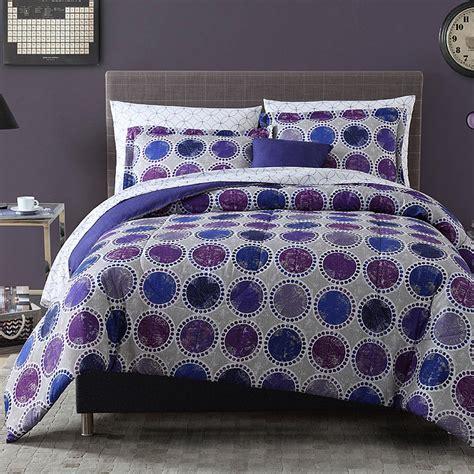 8pc complete comforter bedding set circles dots blue
