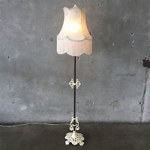 french vintage floor lamp with fringe shade urbanamericana With antique floor lamp with fringed shade