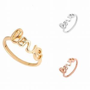 min 1pc fashion romantic alloy love letters rings in gold With rose gold metal letters