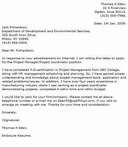 Sample cover letter project manager position dental for Cover letter for project coordinator position