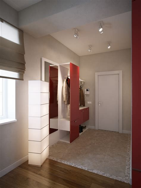 modern red apartment   young couple visualized