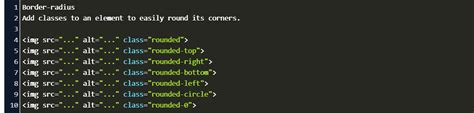 bootstrap border rounded corners code